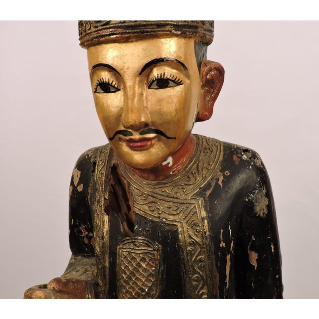 Anonymous Burmese Male Nat Figure In Black and Gold For Sale - Image 4 of 6