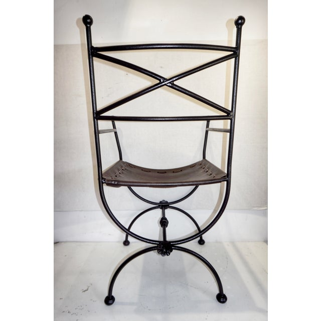 1960s 1960s Vintage Italian Iron and Leather Curule Chairs - A Pair For Sale - Image 5 of 10