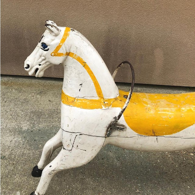 Wood Hand-Painted Carved Wood Carousel Horse For Sale - Image 7 of 11
