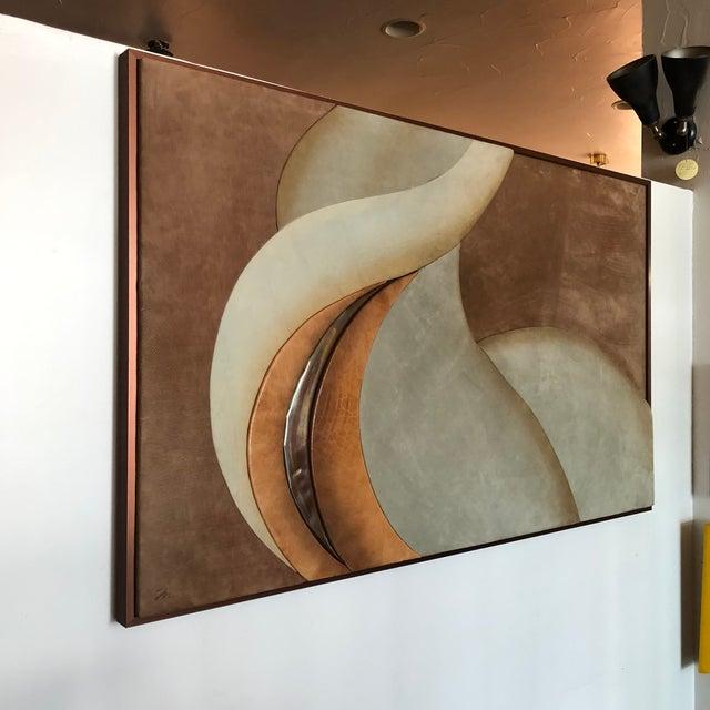 Modern 1970s Modern Suede Leather Framed Artwork Signed M For Sale - Image 3 of 11