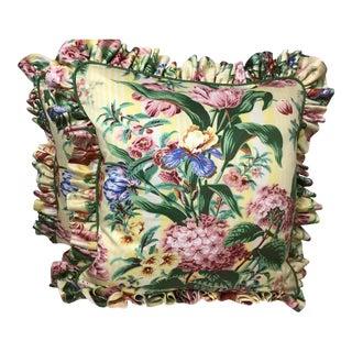"""Chintz Cotton Kaufman Floral Pillows - a Pair, 22""""x22"""" For Sale"""