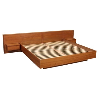 Danish Teak California King Size Platform Bed by Sannemann For Sale