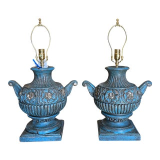 Antique Blue Urn Form Finials - Designer Table Lamps For Sale