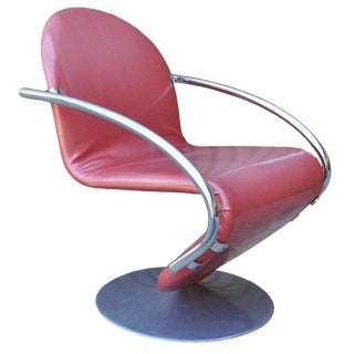 20th Century Danish Modern Verner Panton Fritz Hansen Pink Upholstered 1-2-3 System Metal Chair For Sale