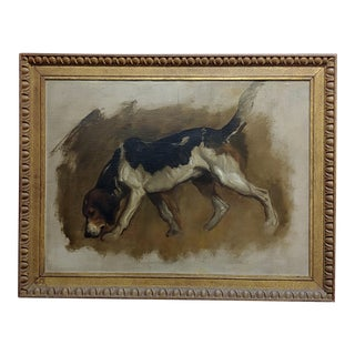 "19th Century ""Study of a Foxhound"" Oil Painting by Charles Furse For Sale"