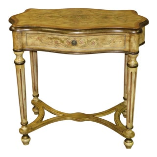 Tuscan Style Hand Painted Table W/ Drawer & Stretcher Base For Sale