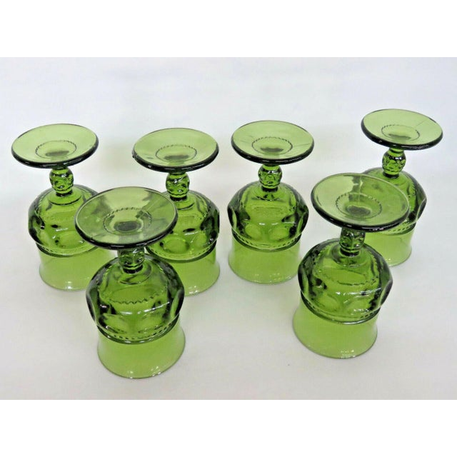 Indiana Glass Company Indiana Glass Kings Crown Thumbprint Green Set of 6 Wine Cordial Goblets For Sale - Image 4 of 11