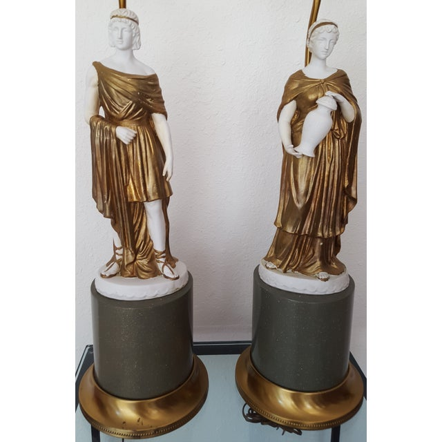 1960 Gilded Bisque Roman Figural Lamps - Pair - Image 3 of 7
