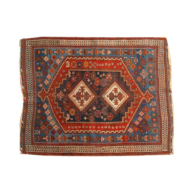 """Antique Afshar Square Rug- 3'6"""" x 4'5"""" - Image 1 of 7"""