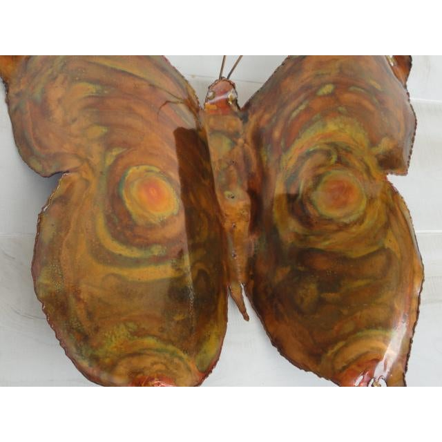 Mid-Century Modern Signed by Artist Copper Butterfly Metal Wall Sculpture For Sale - Image 4 of 13