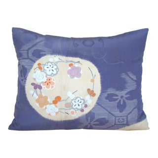 Hand-Painted Floral Medallion Japanese Kimono Lumbar Pillow Cover For Sale