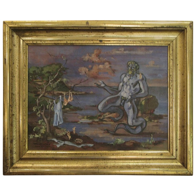 """1934 """"Neptune at Shore"""" Oil on Canvas Painting by William Littlefield For Sale"""