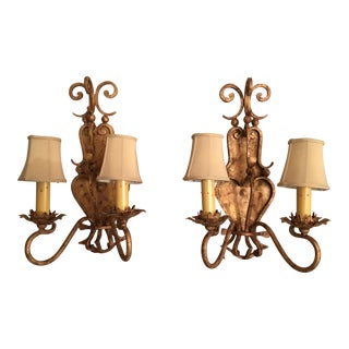 Gold Sconces From Arte De Mexico with Silk Shades - a Pair For Sale