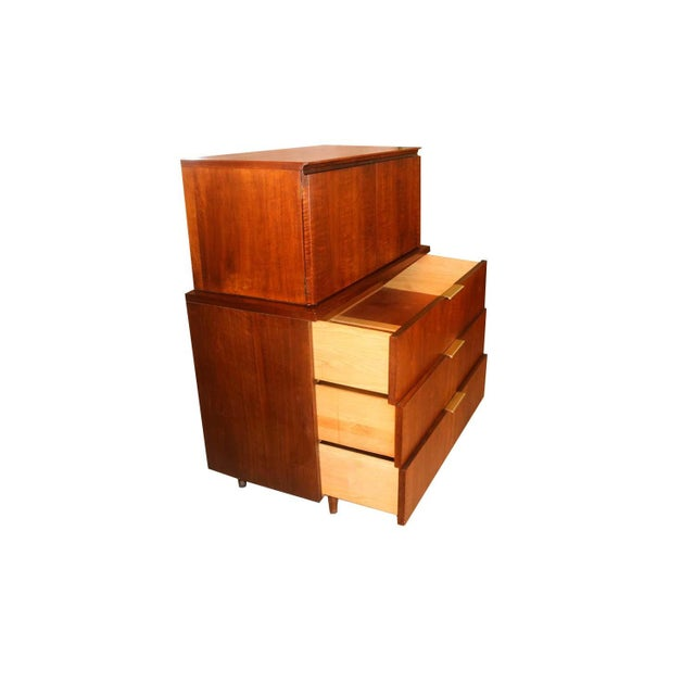 John Stuart Mid Century Highboy Walnut Dresser For Sale In Baltimore - Image 6 of 13