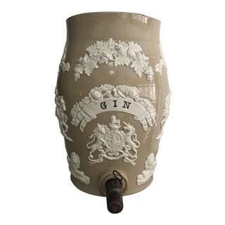 19th Century English Salt Glaze Stoneware Gin Spirits Barrel For Sale