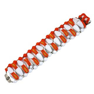 Miriam Haskell Coral and Milk Glass Bracelet For Sale