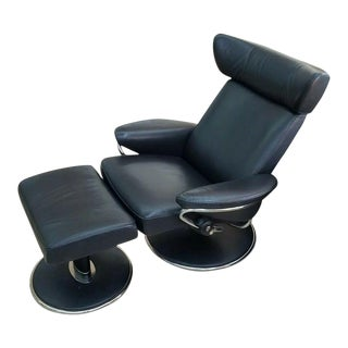 """Norwegian Ekornes Stressless """"Jazz Model"""" Leather Chair and Ottoman For Sale"""