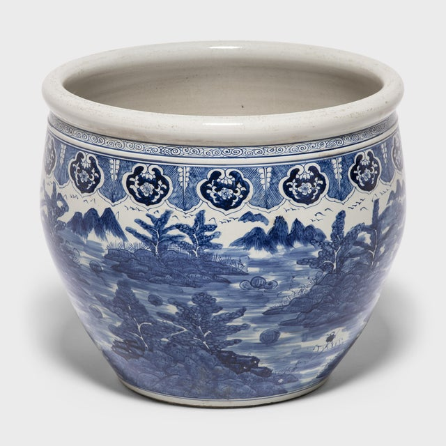 """Asian """"Shan Shui"""" Blue and White Fish Bowl For Sale - Image 3 of 6"""