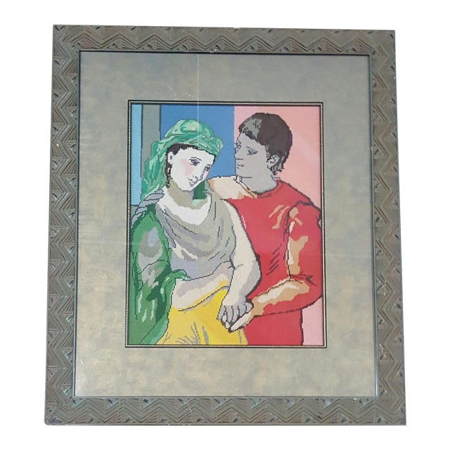 Picasso Man & Woman Framed Needlepoint - Image 1 of 3