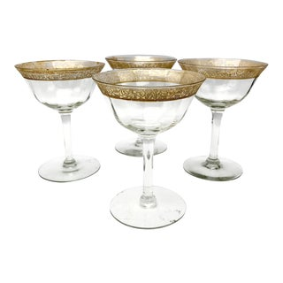 Antique Tiffin-Franciscan Minton Gold Filigree Glasses - Set of 4 For Sale