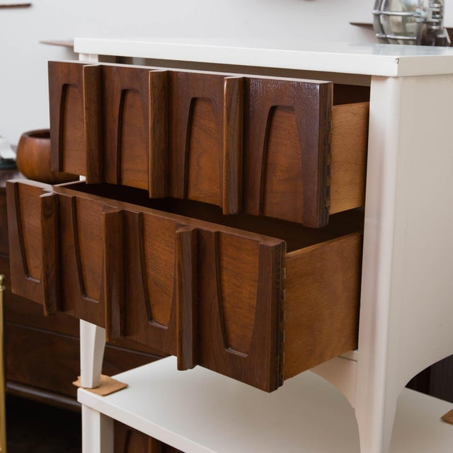 Mid-Century Modern Lacquered Sculptural Front Nightstands - a Pair - Image 3 of 9