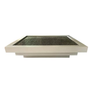 Lagomorph Tiered Lacquered Coffee Table W/ Inset Leather Top