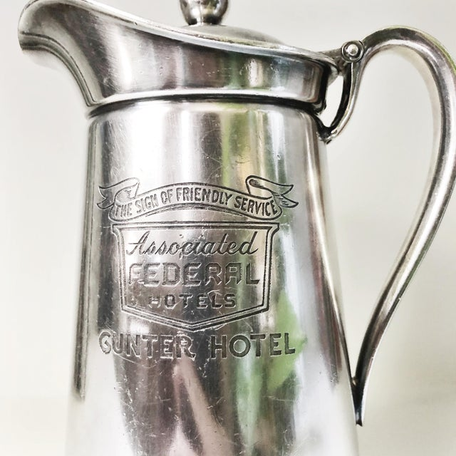 A beautiful vintage circa 1955 heavy silver plated insulated pitcher from the Gunter Hotel in San Antonio Texas! In great...