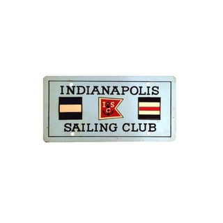 Vintage Indianapolis Sailing Club Metal Sign For Sale