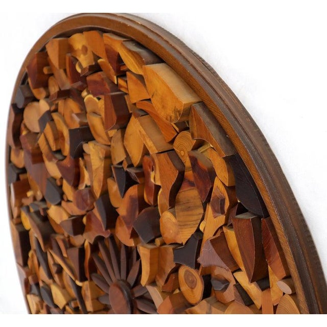 Round Wooden Wall Plaque Sculpture Sunburst For Sale - Image 4 of 8