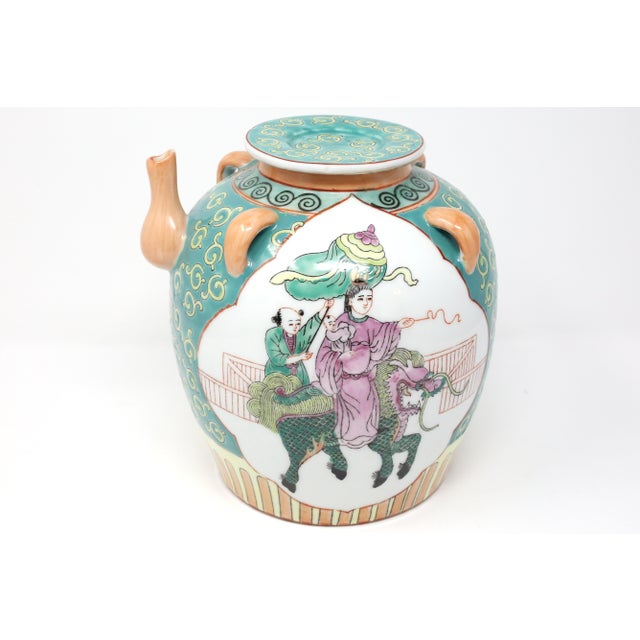 Ceramic Vintage Chinese Decorative Lidded Water Jug For Sale - Image 7 of 13