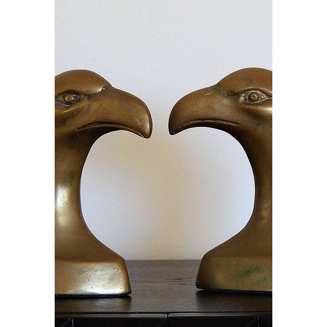 Mid-Century Modern Brass Eagle Bookends- A Pair For Sale - Image 3 of 4