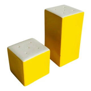 Vintage Post Modern Yellow Ceramic Salt and Pepper Shakers For Sale