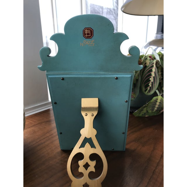 1970s Vintage Mid Century Chinoiserie Teal Lacquered Pagoda Textured Painting Dressing Mirror For Sale - Image 10 of 12