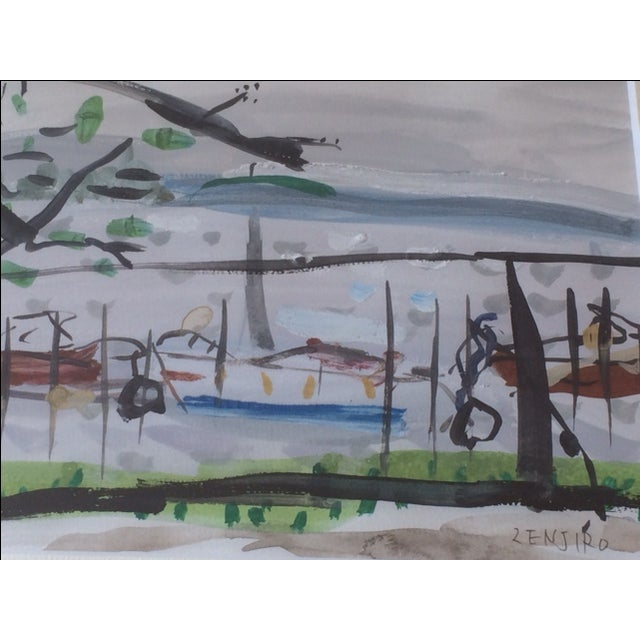 Modern Zenjiro Modern Watercolor Painting For Sale - Image 3 of 5