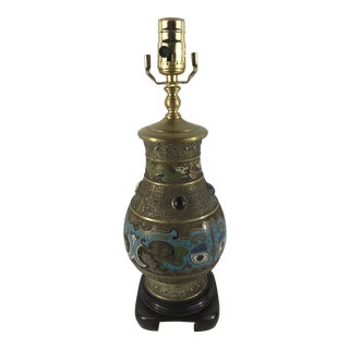 Antique Jeweled Cloisonné Lamp For Sale