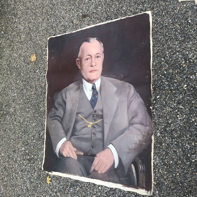 Canvas 1950s Vintage Regal Business Man With Pipe Portrait Oil on Canvas Painting For Sale - Image 7 of 8