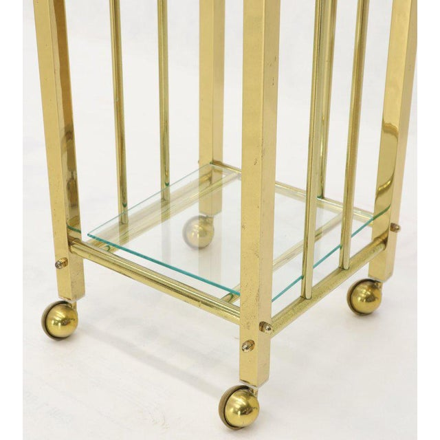 Mid-Century Modern Brass and Glass Square Stand Table Cart Pedestal on Wheels For Sale - Image 4 of 13