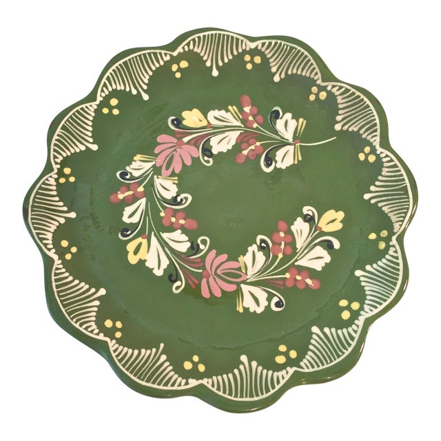 Vintage Hand Painted Decorative Hanging Plate For Sale