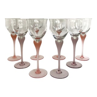 Vintage Mikasa Frosted Pink and Lavender Heart Shaped Wine Glasses - Set of 8 For Sale
