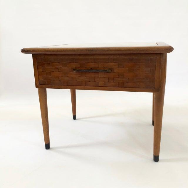 Mid-Century Modern Travertine Side Table - Image 3 of 6