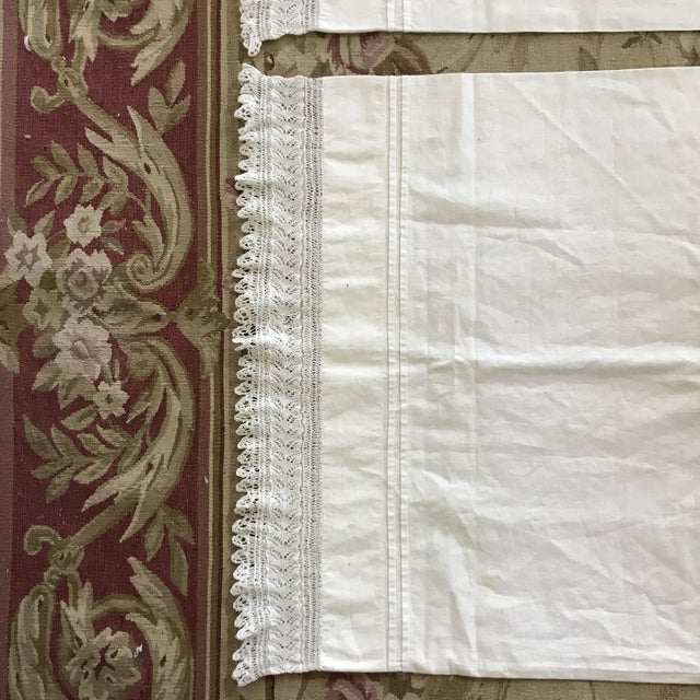Traditional 20th Century Cottage White Pillowcases - A Pair For Sale - Image 3 of 8