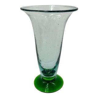 Vintage Hand Blown Art Glass Flower Vase For Sale