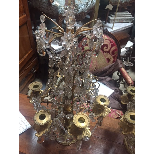 Early 19th Century French Dore Bronze & Crystal Girandoles - a Pair For Sale - Image 10 of 12