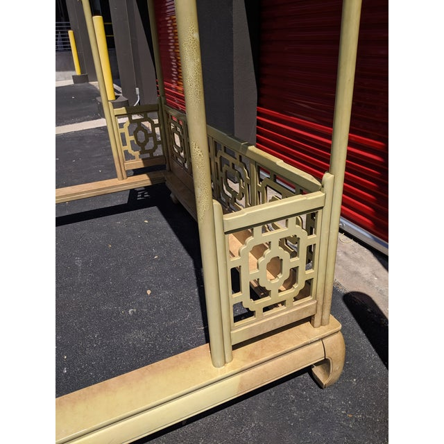 Chippendale Fretwork Ming Platform Lacquered King Size Canopy Bed For Sale - Image 10 of 13