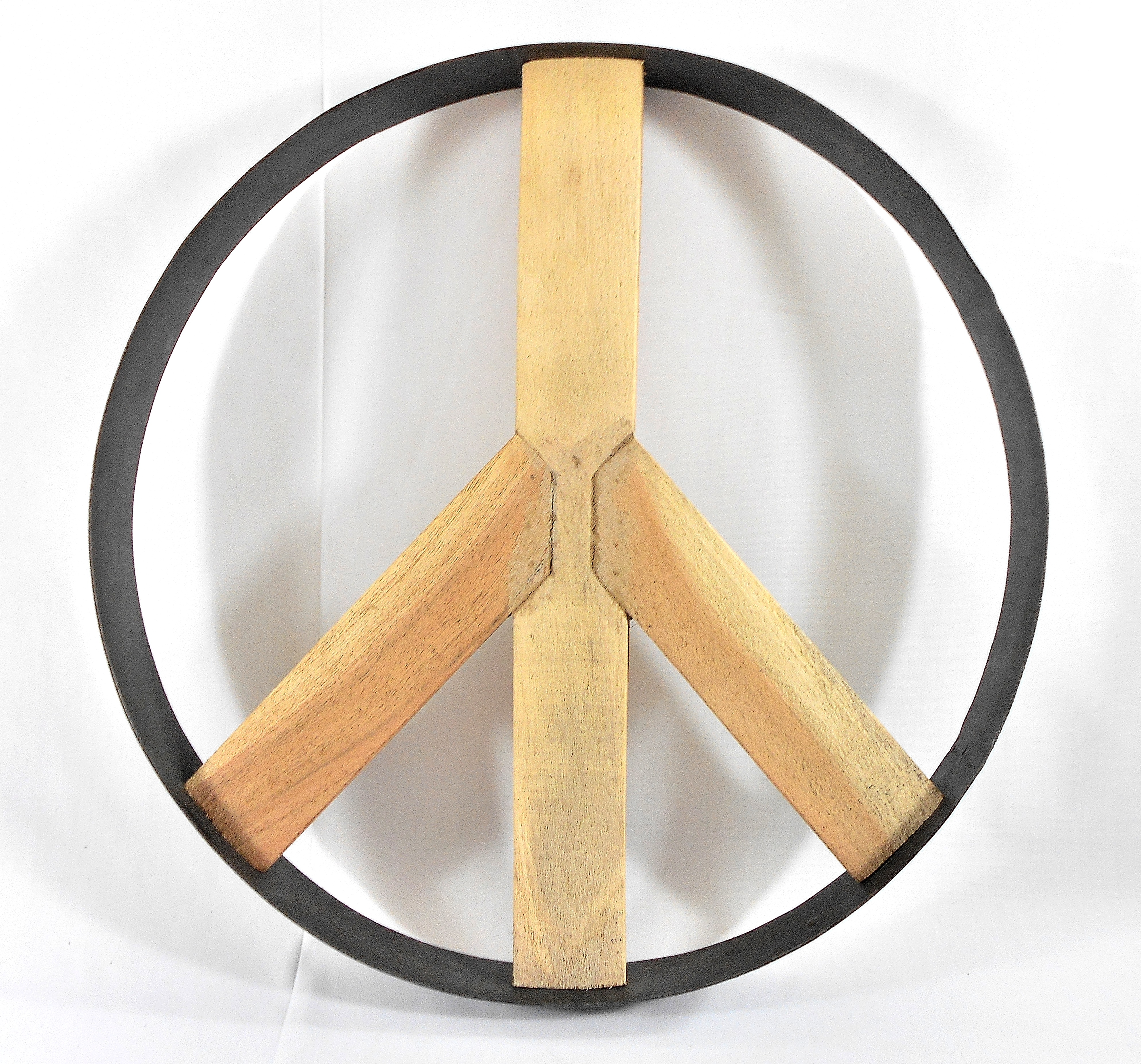 Iron and Wood Peace Sign Wall Art - Image 6 of 6  sc 1 st  Chairish & Iron and Wood Peace Sign Wall Art | Chairish
