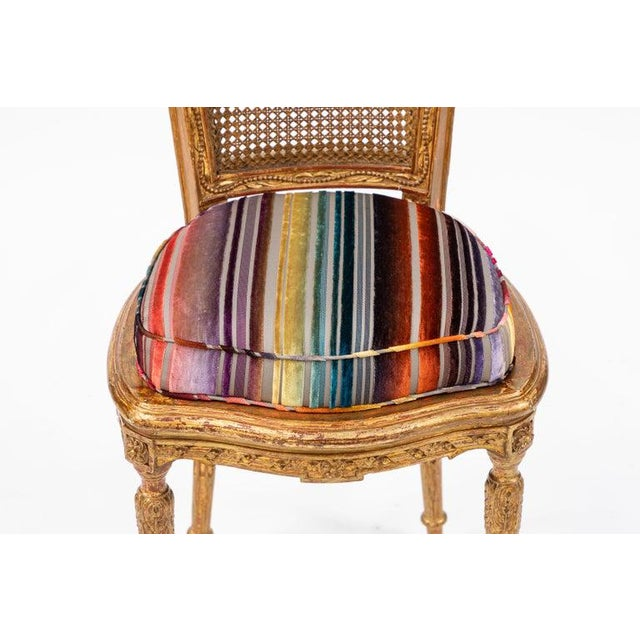 19th C. French Giltwood Side Chair With Donghia Stripped Silk Velvet For Sale - Image 9 of 10