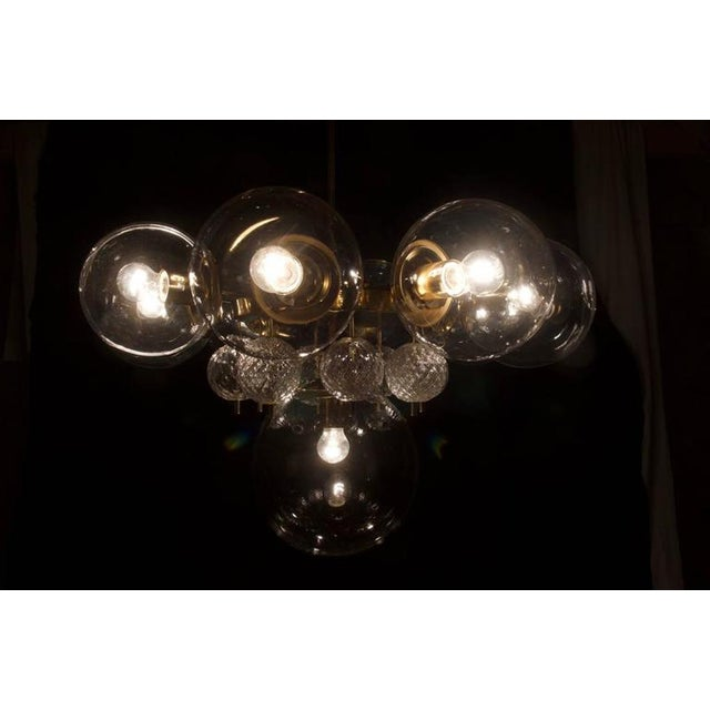 Mid-Century Modern Large Brass Chandelier with Crystal Balls by Kamenicky Senov, 1960s For Sale - Image 3 of 9