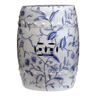 Mid-20th Century Chinese Porcelain Garden Stool With Foliage Decor For Sale