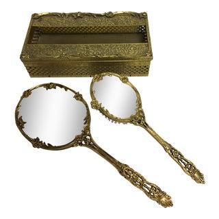 Hollywood Regency Goldtone Rose Mirror, Brush & Tissue Holder - Set of 3