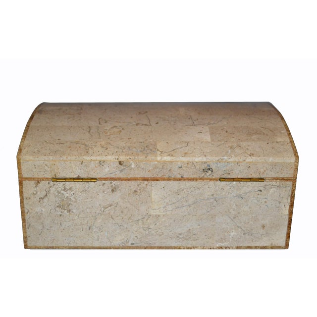 Brown Maitland Smith Vintage Beige Tessellated Stone and Onyx Decorative Jewelry Box For Sale - Image 8 of 13